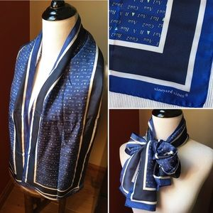 Vineyard Vines silk blue long rectangular scarf